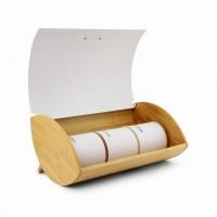 Bambusový chlebník Promis PCHZ-3W, biela + 3 dózy