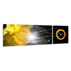 2-dielny obraz s hodinami, Narcis, 158x46cm
