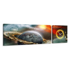 2-dielny obraz s hodinami, Vesmír, 158x46cm