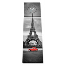 2-dielny obraz s hodinami, Paris, 158x46cm