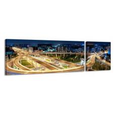 2-dielny obraz s hodinami, Night, 158x46cm
