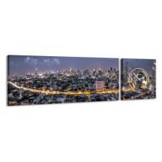 2-dielny obraz s hodinami, Bangkok, 158x46cm
