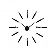 3D Nalepovacie hodiny DIY Clock BIG Twelve C1, čierne 90-130cm