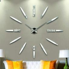 3D Nalepovacie hodiny DIY Clock BIG Twelve C1, strieborné 130cm