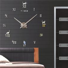 3D Nalepovacie hodiny DIY Clock Cat Time, strieborné, 70-120cm