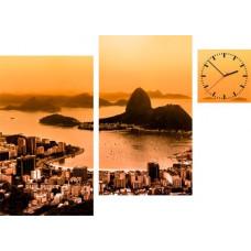 3-dielny obraz s hodinami, Irregular Rio