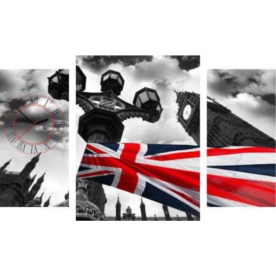 3-dielny obraz s hodinami, ENGLAND, 60x95cm