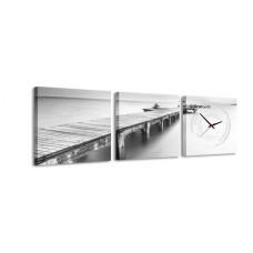 3-dielny obraz s hodinami, Bridge to Nowhere, 35x105cm