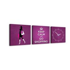 3-dielny obraz s hodinami, Shopping 30x105cm
