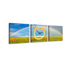 3-dielny obraz s hodinami, Rainbow, 35x105cm