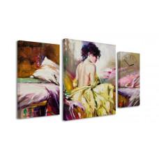 3-dielny obraz s hodinami, Woman, 60x95cm