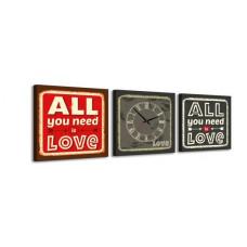 3-dielny obraz s hodinami, Love, 35x105cm