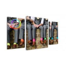 3-dielny obraz s hodinami, Ponožky, 60x95cm