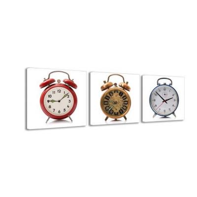 3-dielny obraz s hodinami, Budíky, 35x105cm