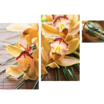 3-dielny obraz s hodinami, Irregular Orchidea, 90x60cm