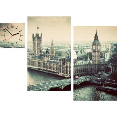 3-dielny obraz s hodinami, Irregular London UK, 90x60cm