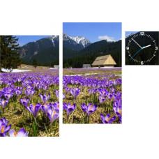 3-dielny obraz s hodinami, Irregular šafrán, 90x60cm