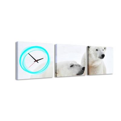 3-dielny obraz s hodinami, Ľadový medveď, 35x105cm