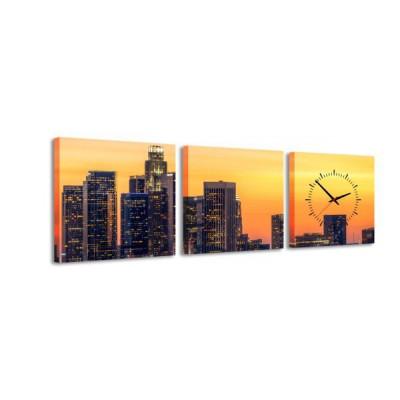 3-dielny obraz s hodinami L. A. Sunset, 35x105cm