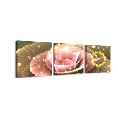 3-dielny obraz s hodinami, Flower, 35x105cm
