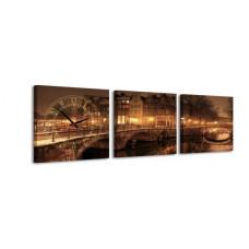 3-dielny obraz s hodinami, Mesto v noci, 35x105cm