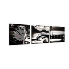 3-dielny obraz s hodinami, Cadillac, 35x105cm