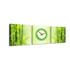 3-dielny obraz s hodinami, Bamboo Style, 35x105cm