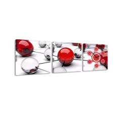 3-dielny obraz s hodinami, Balls, 35x105cm