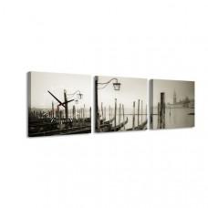 3-dielny obraz s hodinami, Benátky, 35x105cm