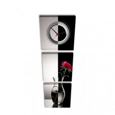 3-dielny obraz s hodinami, Váza, 35x105cm