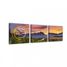 3-dielny obraz s hodinami, Sunset Berg, 35x105cm