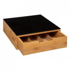 Bambusová zásuvka na kapsule so sklenenou doskou 5Five 7753