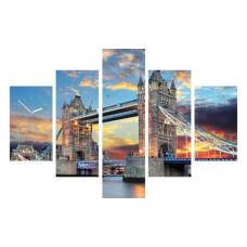 5-dielny obraz s hodinami,TOWER BRIDGE, 100x70cm