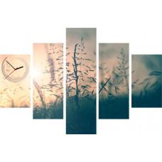 5-dielny obraz s hodinami, Sunset, 100x70cm