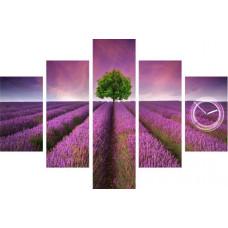 5-dielov, Hodiny ako obraz, Levandule Pole, 100x70cm