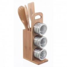 Bambusový stojan s náradím 3 + 3 magnetické koreničky, Bamboo