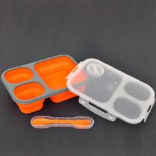 Box na jedlo Silikon Tiross TS-1415 , skladací, oranžový