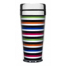 Cestovný termohrnček SAGAFORM Striped Car Mug, úzke prúžky, 40cl