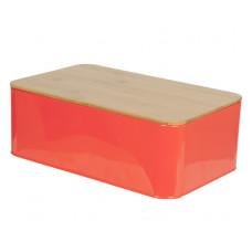 Chlebník s doskou Bread box Solid tin, neon orange