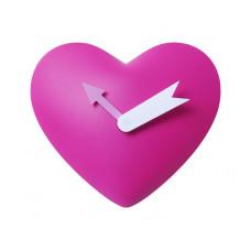 Detské kyvadlové nástenné hodiny Srdce, ružové, 25cm
