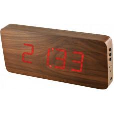Digitálny LED budík/ hodiny MPM s dátumom a teplomerom 3672.50, red