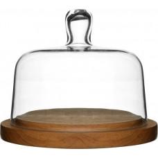 Doštička na syr so skleneným poklopom SAGAFORM Oval Oak