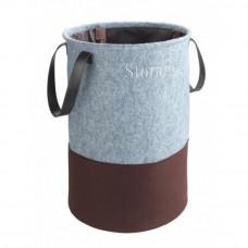 Filcový úložný box na bielizeň sivá / hnedá, 75 L