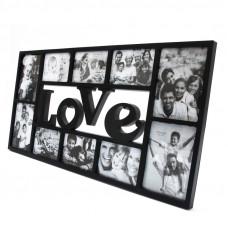Fotorám Love na 10 fotiek, čierny, 72x36cm