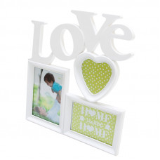 Fotorám Love na 3 fotky, biely, 37x33cm