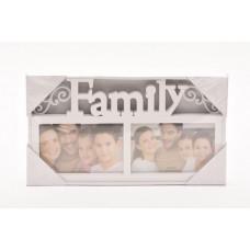 Fotorám na 2 fotky, Family biely, 32x18cm