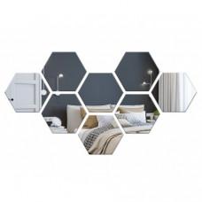 Dekoračné akrylové zrkadlo Hex, strieborné