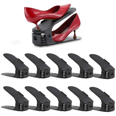 Nastaviteľný organizér na topánky, čierny, sada 10ks