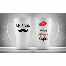 Hrnčeky pre páry Latte, Mr & Mrs Right , 2ks x 450ml