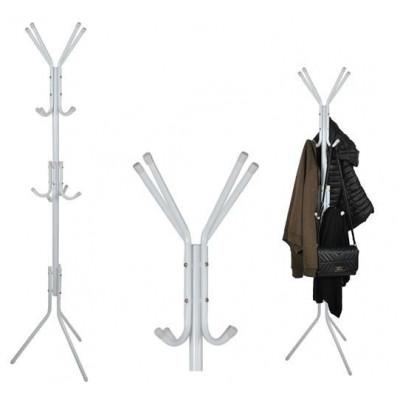 Kovový vešiak na kabáty biely, Isot5342, 175cm